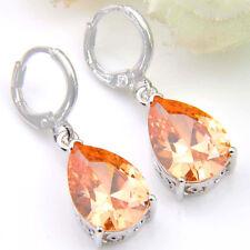 Silver Woman Drop Earrings Limpid Natural Morganite Gems Silver Dangle Earrings
