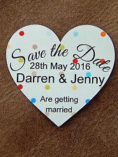 10 Save The Date Wedding Personalised Heart Magnet Cards Multi Colour Polka Dot