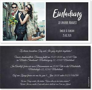Einladungskarten Hochzeit Hochzeitskarten Vintage - Schwarz Tafel Foto mit Druck