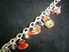 "Vintage AMJC Silvertone Metal 5 Girlie Charm 7"" Link Chain Charm Bracelet"