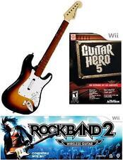 NEW Nintendo Wii Rock Band 2 Wireless Sunburst Guitar & Guitar Hero 5 Game RARE