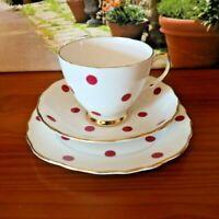 Royal Vale China Polka Dot Red Tea Set Trio