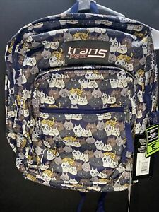 """New Trans by JanSport 17"""" SuperMax Cat Backpack Catty Crowd Navy Laptop"""