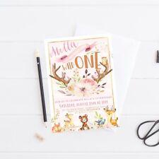 Printable Girl's Birthday Invitation Wild One Woodland Theme Digital File Invite