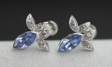 Stone Screwback Earrings 4.8 Grams Vintage Sterling Silver Blue And White