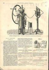 Appareil Fabrication Eaux Gazeuses Exposition Universelle de Vienne GRAVURE 1873