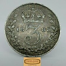 1889 Great Britain Silver 3 Pence, Free Shipping -  #C18965