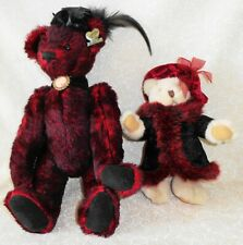 """Annette Funicello Collectable Bear Red with Cameo and Feathers 13"""" & Russ Bear"""