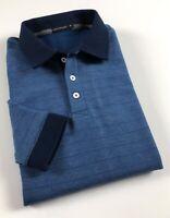CALVIN KLEIN Polo Shirt Men's Slim Fit Long Sleeve Blue Marl Stripe Fleece