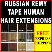 100% PURE RUSSIAN TAPE REMY HUMAN HAIR EXTENSIONS BROWN BLONDE BLACK LASTS 1YR+