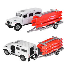 Land Rover Defender Trailer w/ Canoes Kit Diecast Car Model Toy Vehicle Gift Kid