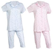 Ladies Floral Cotton Pyjamas Button Up Top & 3/4 Length PJ Bottoms Nightwear Set