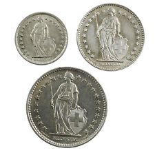 Lot de 3 Pièces en Argent Suisses Demi Franc 1 Franc et 2 Francs