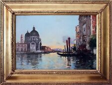 French 19th Century Oil Painting of Venetian Scene by Maurice Bombard 1857-1936
