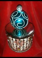 CANDLE Lid Topper bulb ornament glitter swirly blue for BATH & BODY WORKS 3 wick