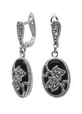 Elegante Ohrringe aus 925er Sterlingsilber Onyx und Markasiten