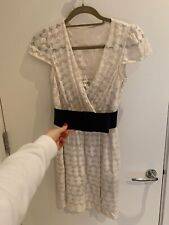 Milly Cream Faux Wrap Dress with Bow Belt US 4