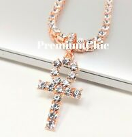 ANKH Cross Pendant + Tennis Chain COMBO Hip Hop ICED Necklace Rose Gold Color