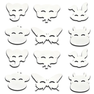 12 Pack Make Your Own Mask Kit Arts Crafts Kids Animals Butterfly Children Set