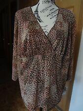 NWT Womens Rafaella Size 2x Brown Beige Rust Knit Mesh Top