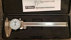 """6"""" Fowler Dial Calipers .001"""" Shockproof Stainless Depth Rod In and Out Jaws"""