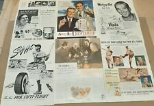 VINTAGE BASEBALL CELEBRITIES PRINT AD LOT (6) 1940'S - DIMAGGIO, FELLER & OTHERS