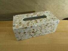 Whole Housewares Decorative Mosaic Tissue Box Cover, Mother of Pearl Rectangular