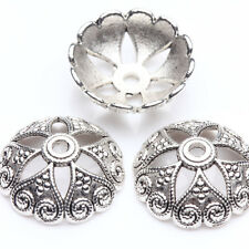 10Pcs Tibet Silver Heart Flower Spacer Bead Caps Jewelry Findings DIY 15x5mm