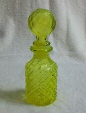 Canary Yellow Vaseline Glass Perfume Cologne Bottle Unknown Maker Circa 1930's