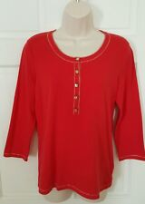 Jones New York Signature medium M Red cotton spandex blend women's Top EUC