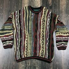 TUNDRA Canada Textured Sweater XL Crew Coogi-Style 3D Cotton Multi-Color Holiday
