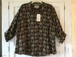 SEASALT Larissa Fern Moss Green Flower Head Retro Shirt Size 18/20 NEW with tags