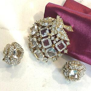 Vintage D'Orlan brooch clear rhinestone clip pierced earrings set