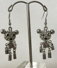 silver Bff gift New Rrp £12.99 Silver Teddy Bear earrings jewellery jointed gem