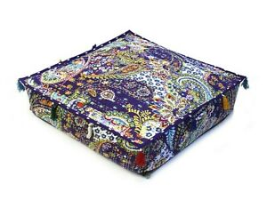 """Cotton Indian Kantha Pouf Seating Handmade 35x35x5"""" Inches Square Ottoman Cover"""