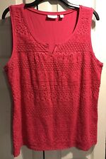 New York and Co. hot pink knit shell tank Size Large lace front CAREER v-neck
