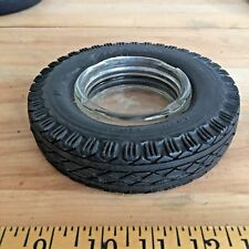Vintage GOODYEAR super cushion TIRE ASHTRAY clear glass ADVERTISING PROMO