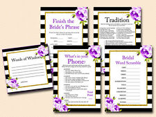 Print Yourself Purple floral Bridal Shower Game Pack BS66