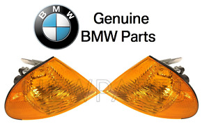 For BMW E39 E46 3-Series Set of 2 Front Turn Signals Light & Yellow Lens Genuine