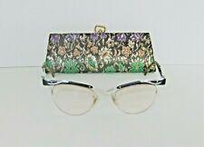 True Vintage 1950s Bausch & Lomb Cat Eye Eyeglasses & Case Black & Silver 12K Gf