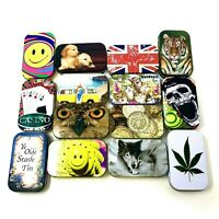 Tobacco Tin Metal 1 Oz Storage Container Stash Box Cat Selfie Smiley Coin