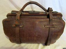 Vintage Burgundy Brown Snakeskin Pattern Gladstone Doctors Bag c1890