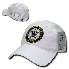White United States US Navy Military Low Crown Polo Trucker Baseball Cap Hat