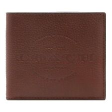 NWT COACH Double Billfold Wallet Card Case Bifold Money Dark Brown F24647