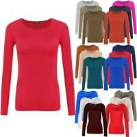 Ladies Womens Plain Casual Round Neck Long Sleeve Fit T Shirt Tee Top Plus Size