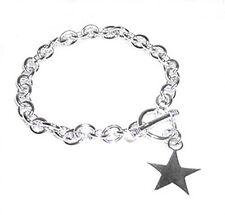 """Star Charm Toggle Link Solid Sterling Silver Bracelet 8.5"""""""