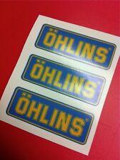 3 Adesivi OHLINS ammortizzatori pistoncino Blu e Yellow