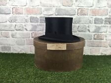 Vintage Hope Brothers Ltd Black Plush Silk Top Hat Size 7 1920's  Box And Shaper