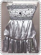 ✨💎Silver Grey Satin Embellished Sparkle Dress UK 10 EU 38 US 6 FAST📮💎✨