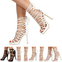NEW WOMENS LADIES STILETTO HIGH HEEL PLATFORM CUT OUT OPEN TOE LACE UP SHOES SIZ